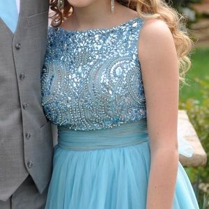 Sherri Hill 11032 Sz 8 Aqua Blue Homecoming Dress